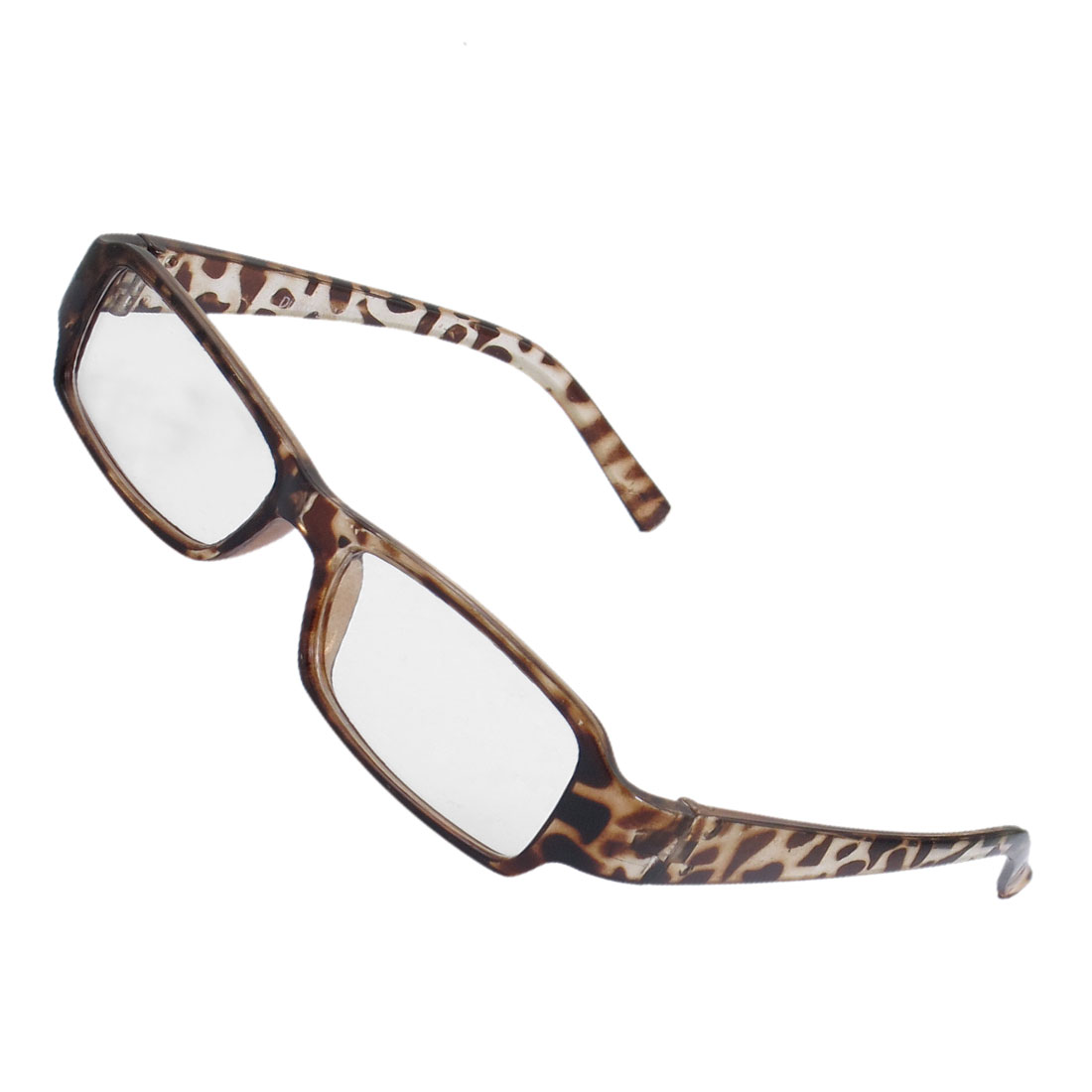 Brown Plastic Leopard Pattern Clear Lens Glasses Eyeglasses