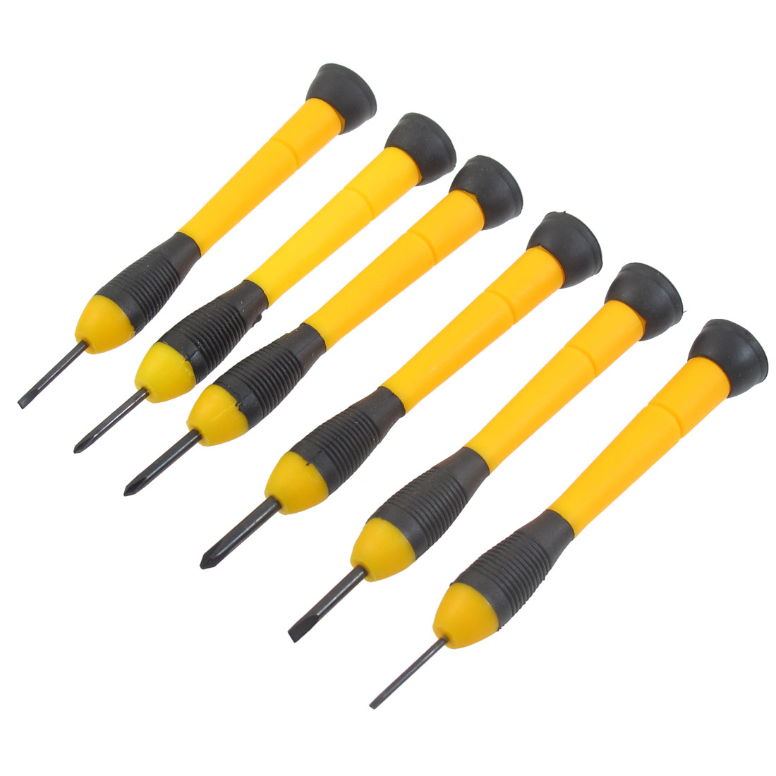 6 Pcs Yellow Plastic Handle Watch Glasses Eyeglasses Repair Screwdrivers Set