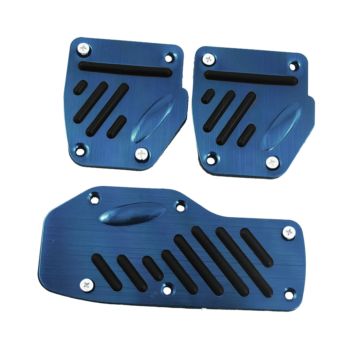 3 Pcs Blue Aluminum Alloy Rubber Car Automobile Auto Non-slip Pedal Cover
