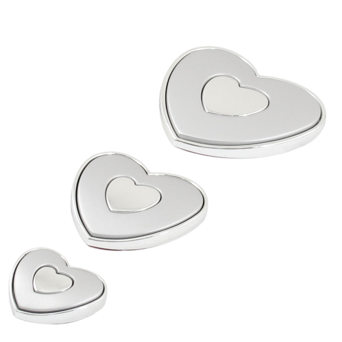 3 Pcs Gray Silver Tone Plastic Heart-shaped Auto Emblem Door Car Badge Stickers
