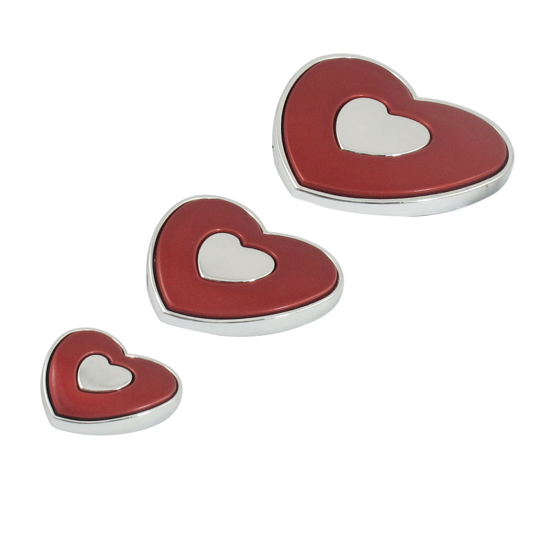 3 Pcs Red Silver Tone Plastic Heart-shaped Auto Emblem Door Car Badge Stickers