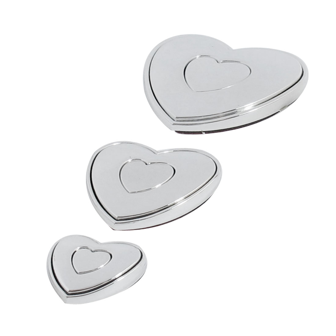 3 Pcs Silver Tone Plastic Heart-shaped Automobile Auto Emblem Door Car Badge Stickers