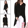 Ladies Black Long Sleeves Panel Single Breasted Irregular Hem Blouse XS