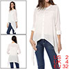 Ladies Off White Long Sleeves Panel Single Breasted Irregular Hem Blouse XS