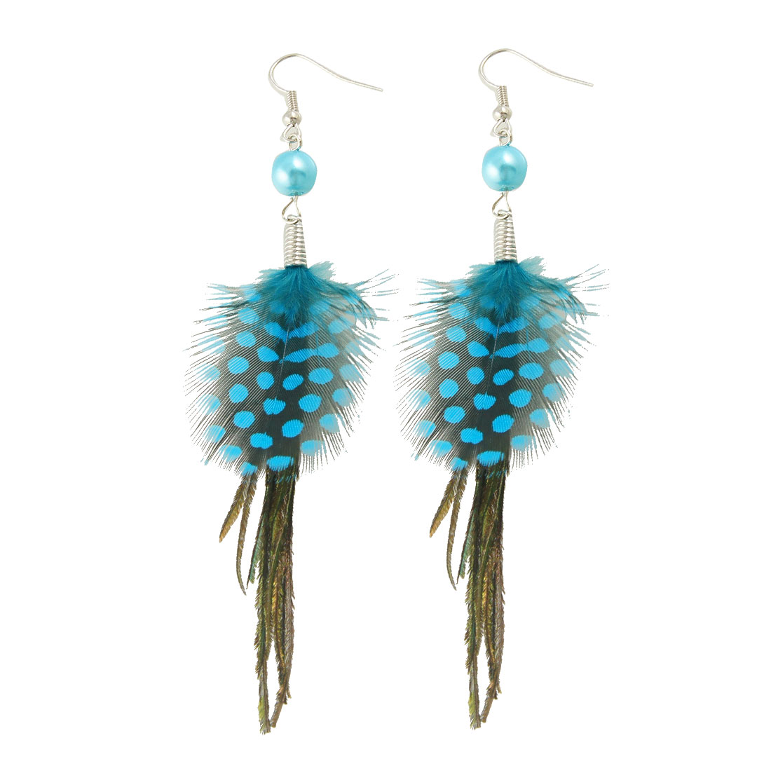 Pair Green Blue Black Faux Feather Plastic Beads Hook Earrings for Ladies