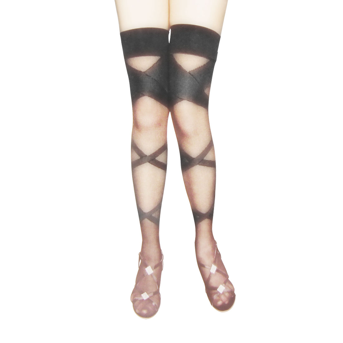 Women Corss Line Pattern Sheer Black Stretchy Thigh High Stockings