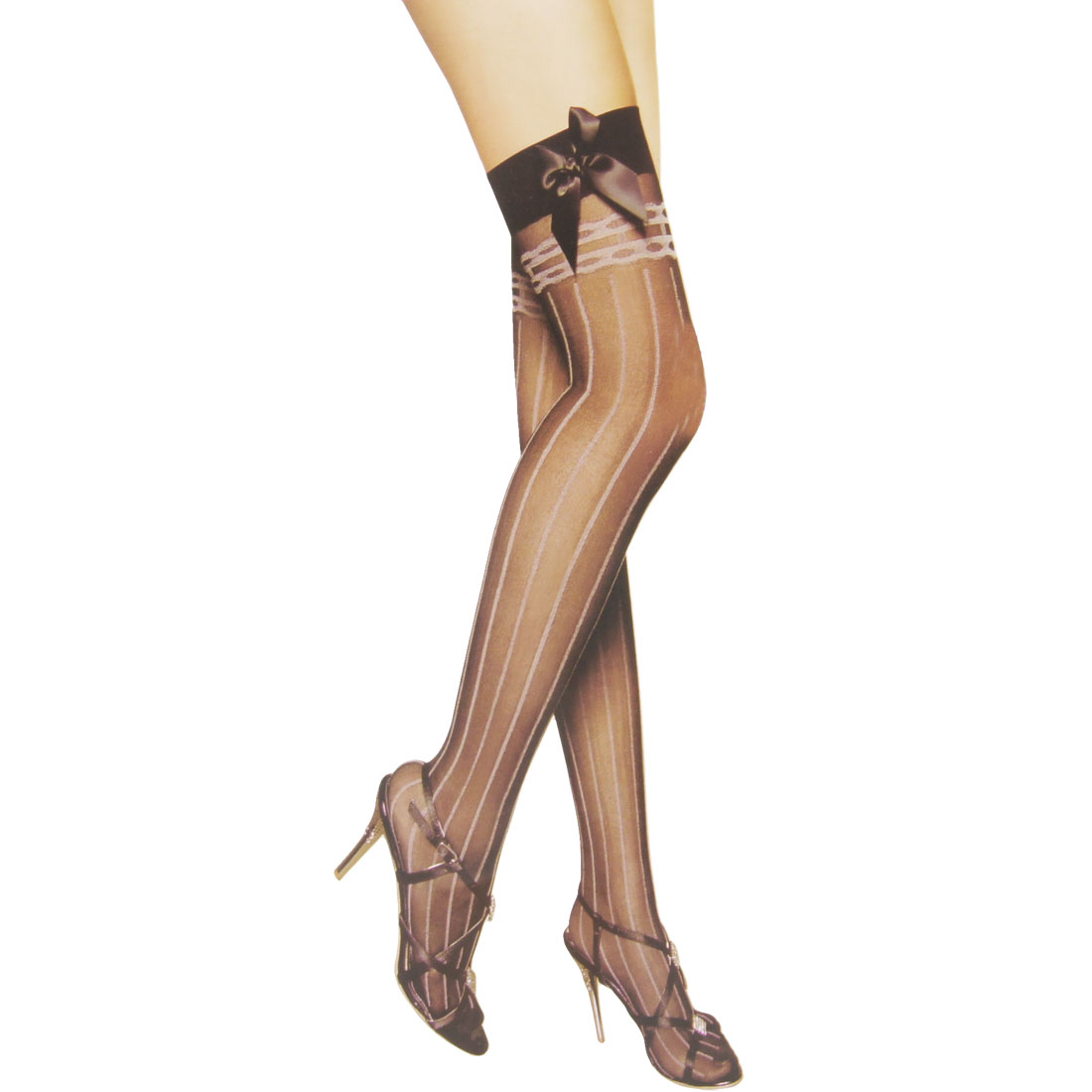 Woman Vertical Striped Black Sheer Stretchy Thigh High Stockings