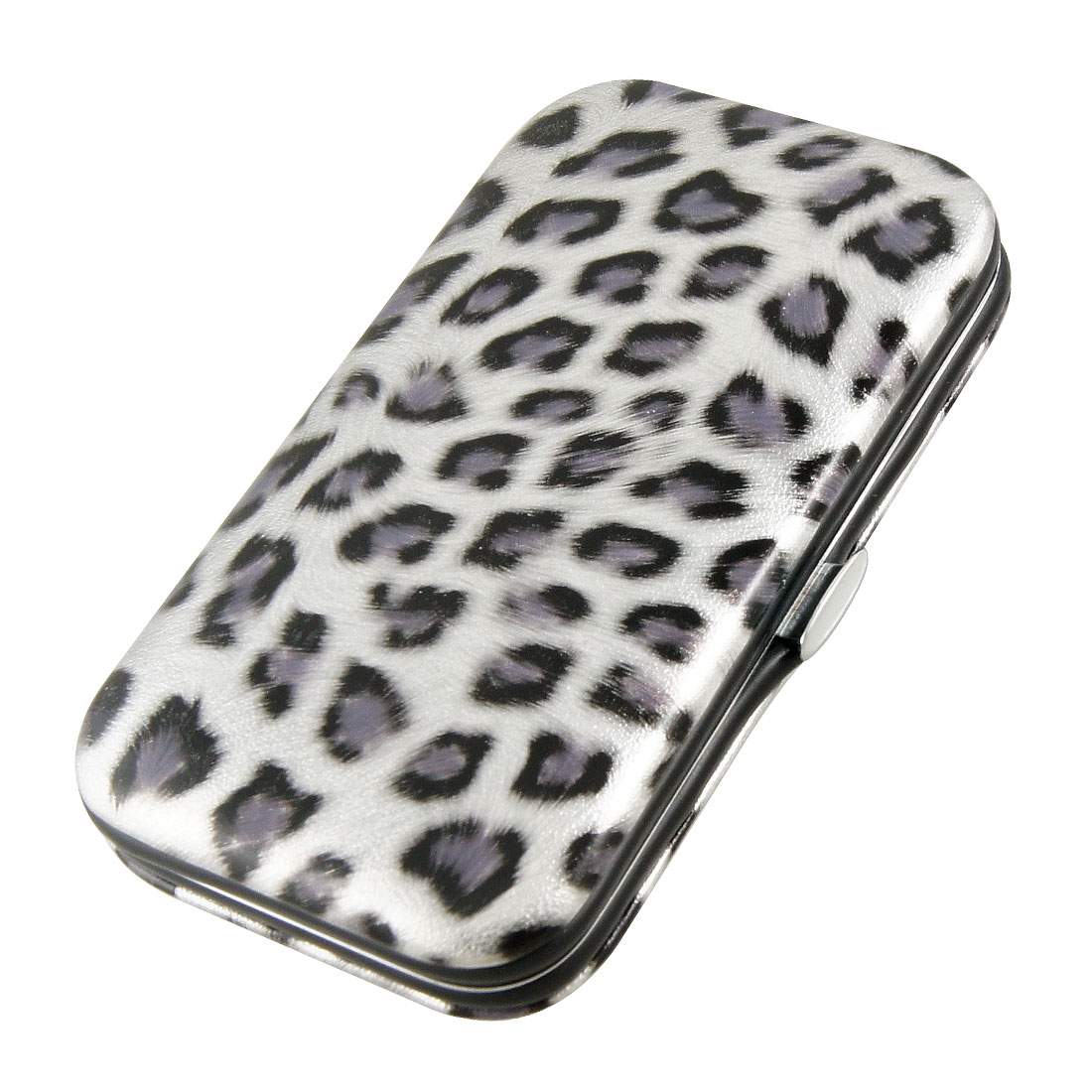 6 in 1 Metal Nail Clipper File Manicure Set w Gray Black Leopard Prints Case