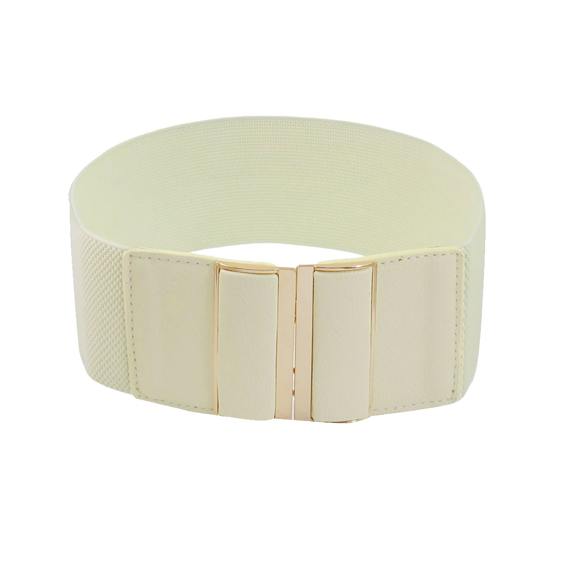 Off White Faux Leather Backing Interlocking Buckle Waistband Belt for Ladies
