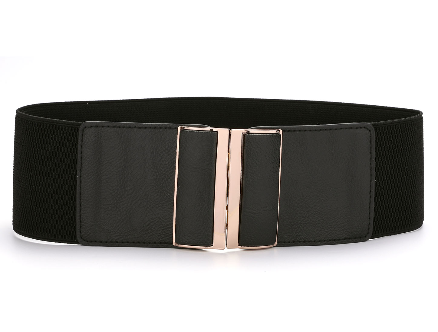 Black One Size 75mm Width Stretchy Waistband Belt for Ladies