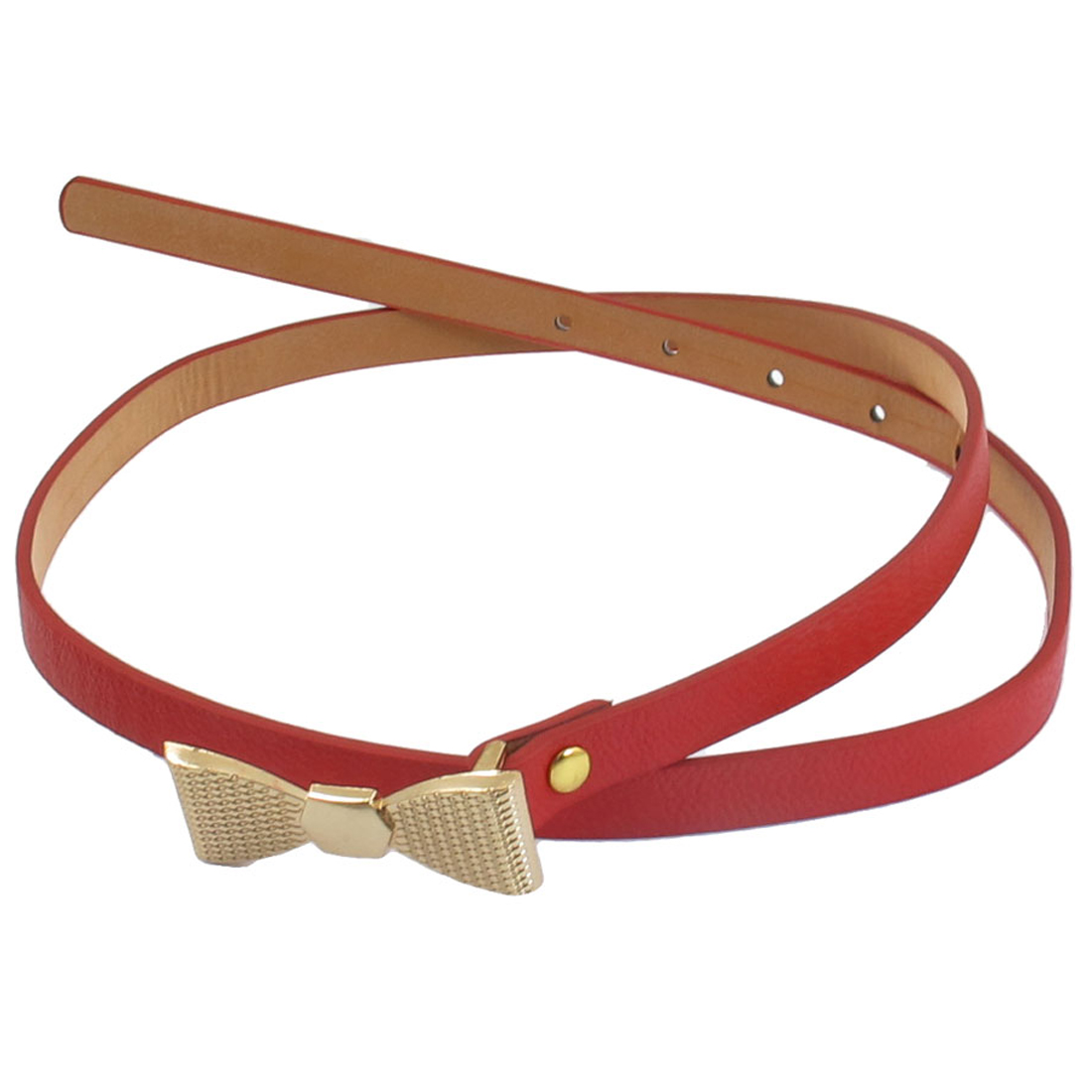 Ladies Red Bowknot Shaped Press Buckle One Size Slim Waistband Belt