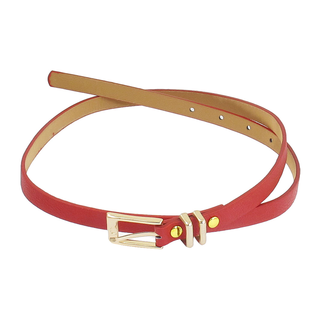 Red Faux Leather Single Pin Buckle Slim Waistband Belt for Women