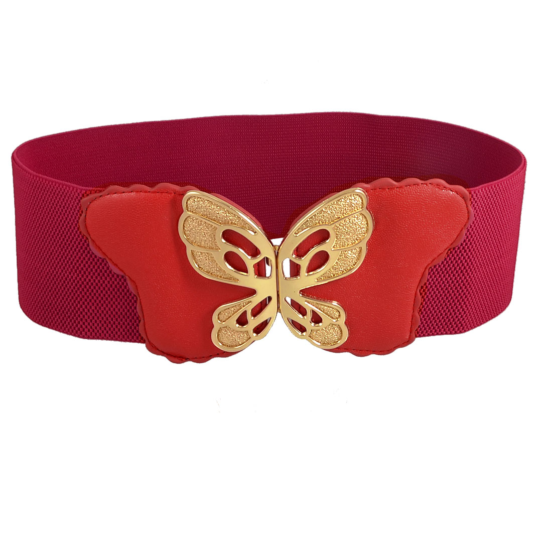 Hook Buckle Gold Tone Metal Butterfly Decor Red Stretchy Waist Belt Band