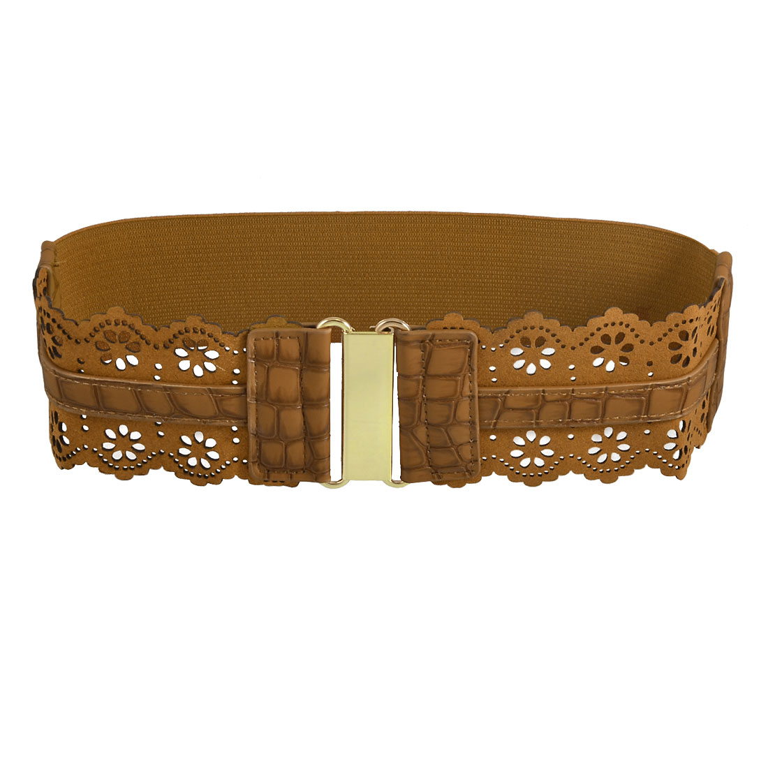 Gold Tone Hook Buckle Hollow-out Flower Accent Brown Stretchy Waist Band