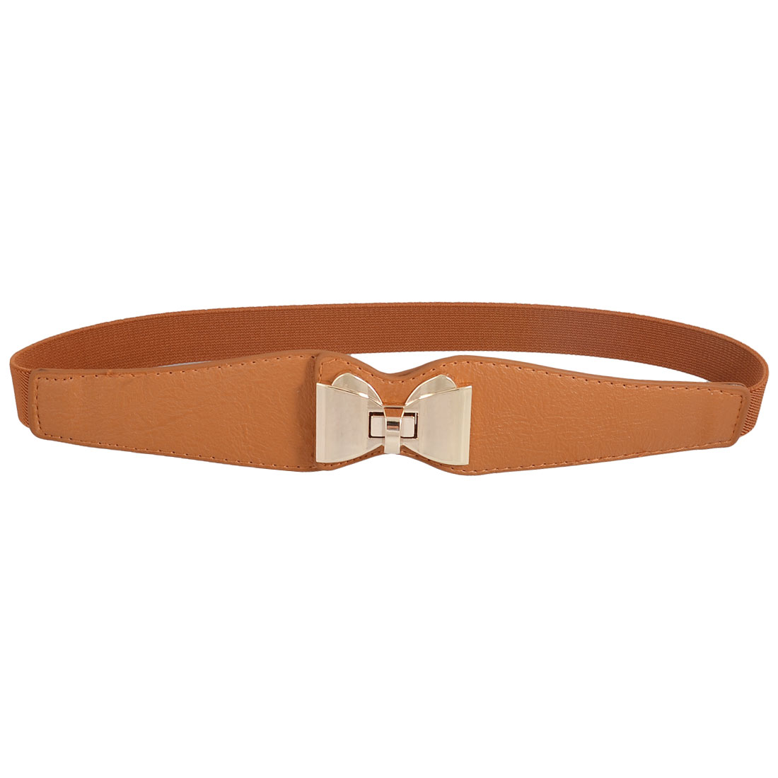 Gold Tone Metal Bowknot Shaped Turn Lock Brown Elasticated Cinch Belt