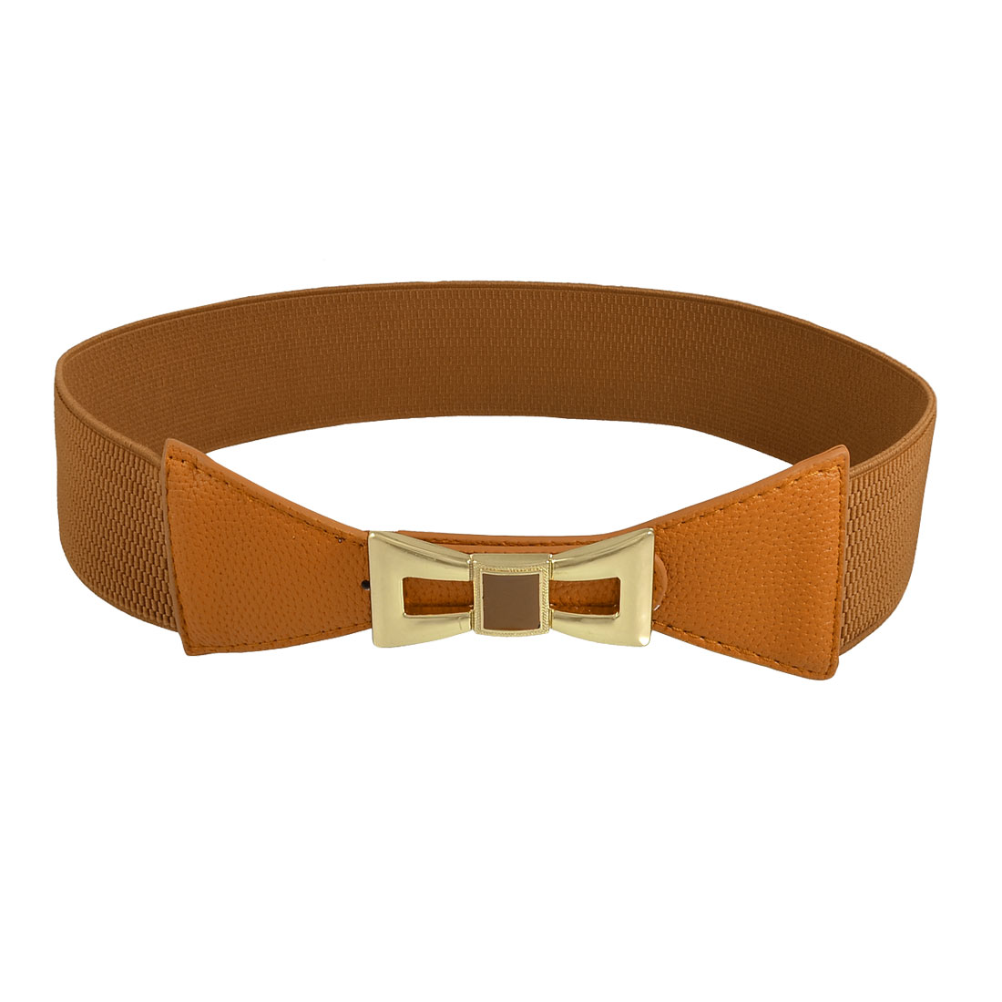 Press Buckle Gold Tone Metal Bowknot Adorned Brown Elastic Waist Belt