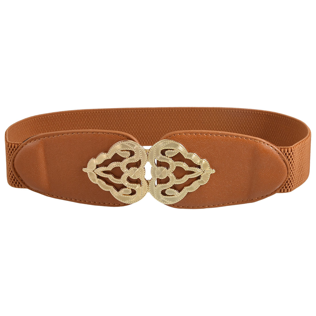 Metal Crown Shape Detailing Clasp Buckle Brown Stretchy Cinch Belt