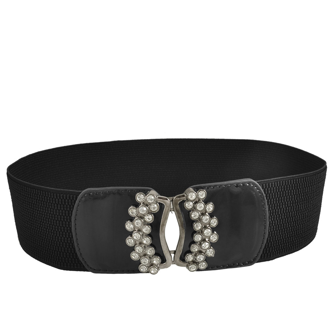 Dazzling Rhinestone Detail Hook Buckle Stretchy Waist Band Belt Black