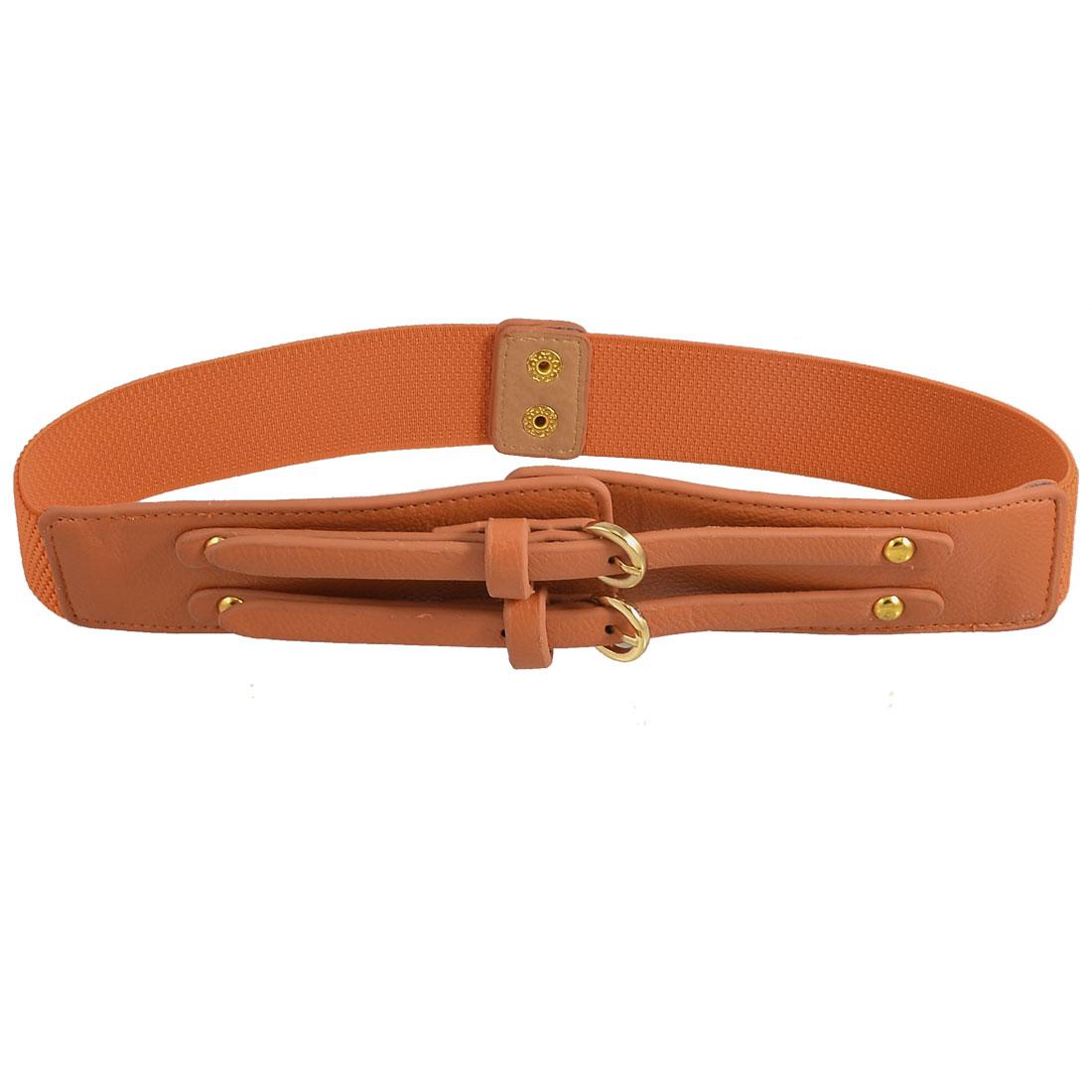 Lady Double Prong Buckle Detailing Press Stud Stretch Waist Belt Orange