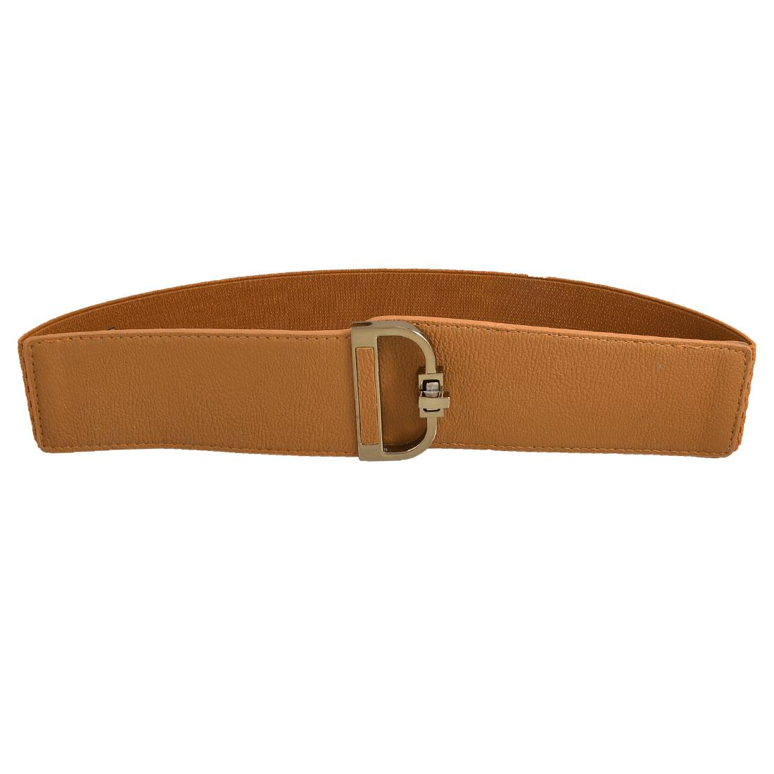 Gold Tone Metal D Shape Turn Lock Closure Elastic Cinch Belt Brown