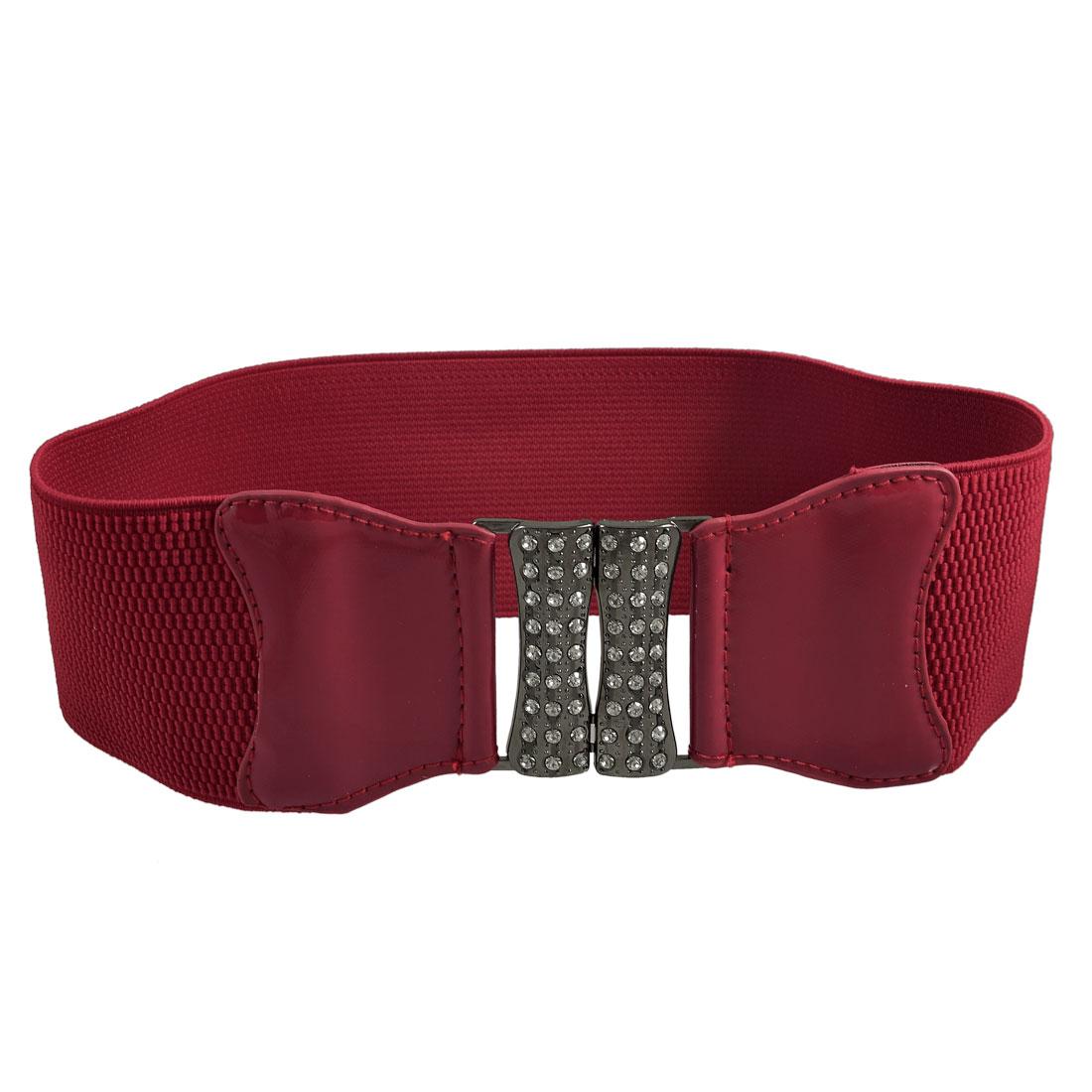Red Bowknot Detail Rhinestone Inlaid Hook Buckle Elastic Waist Belt