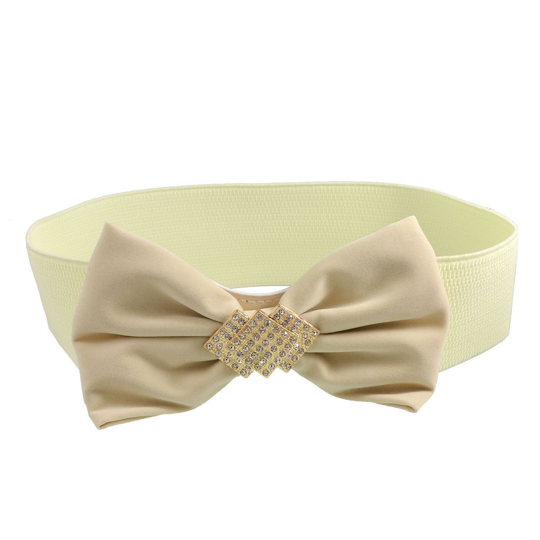 Press Stud Button Rhinestone Bowknot Decor Elasticated Waistbelt Beige