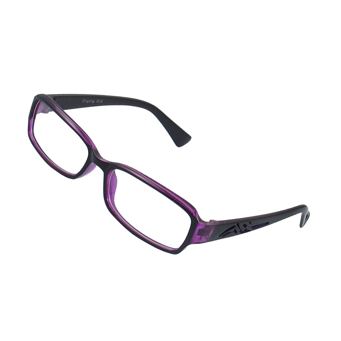 Lady Black Purple Full Frame Carved Arm Plain Plano Eyeglass