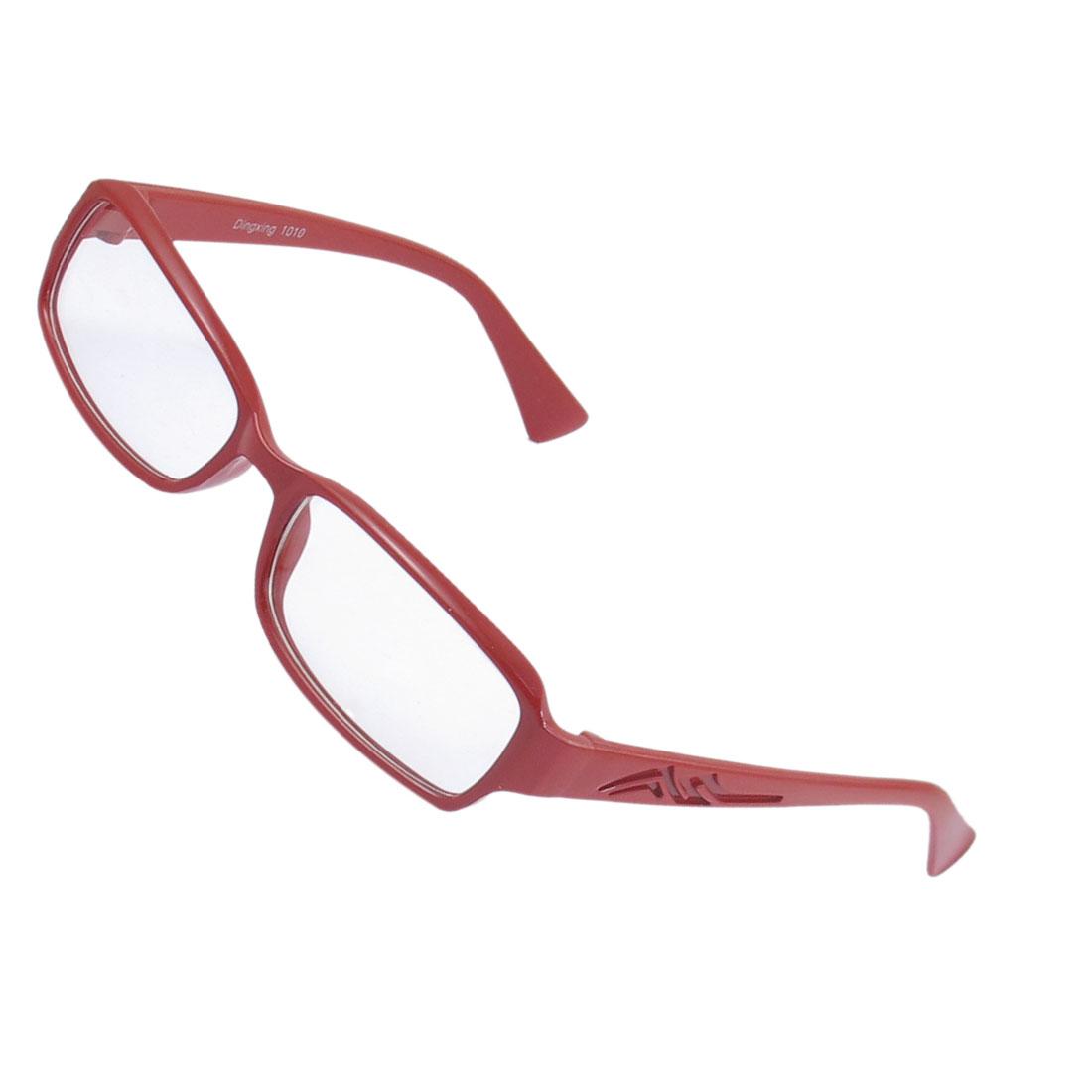 Lady Full Frame Carved Arm Plain Plano Eyeglass Burgundy