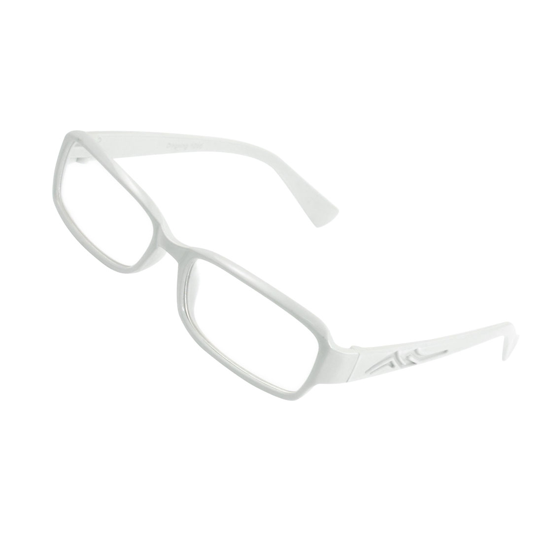Lady Full Frame Carved Arm Plain Plano Eyeglass White