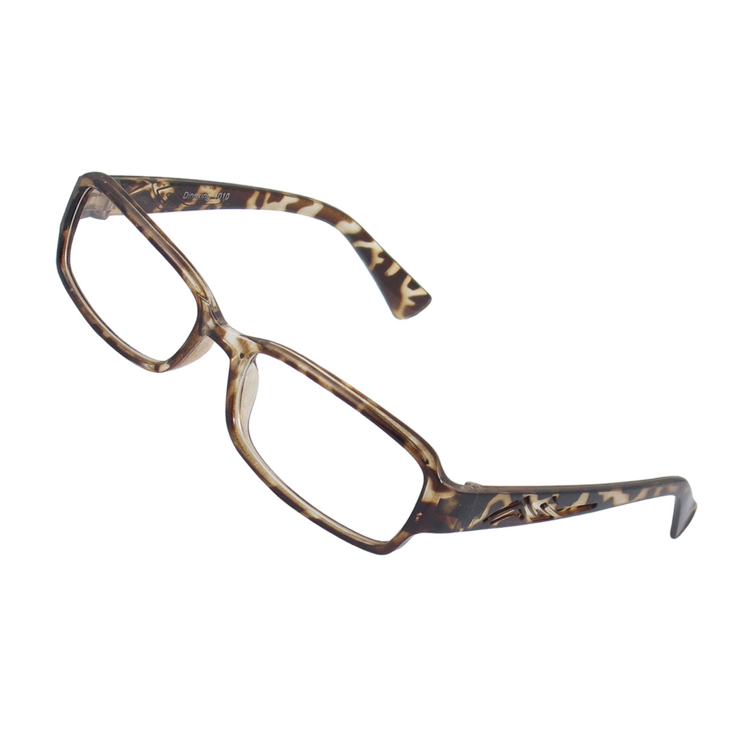 Lady Leopard Pattern Full Frame Carved Arm Plain Plano Glasses Eyeglass
