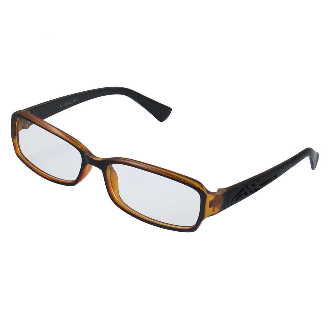 Lady Black Brown Full Frame Carved Arm Plain Plano Eyeglass
