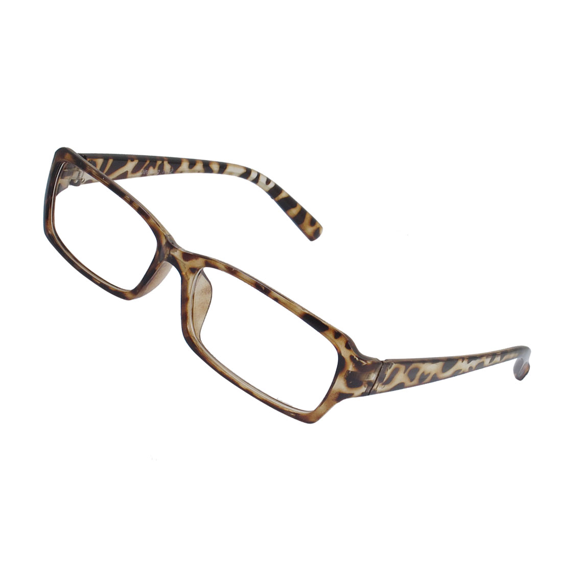 Lady Leopard Pattern Plastic Full Frame Plain Plano Glasses Eyeglass