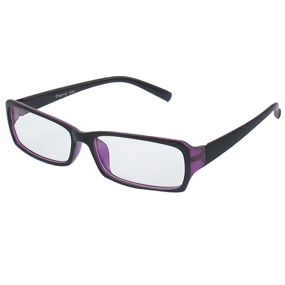 Lady Full Rim Clear Lens Plain Glasses Eyeglass Eyewear Black Purple