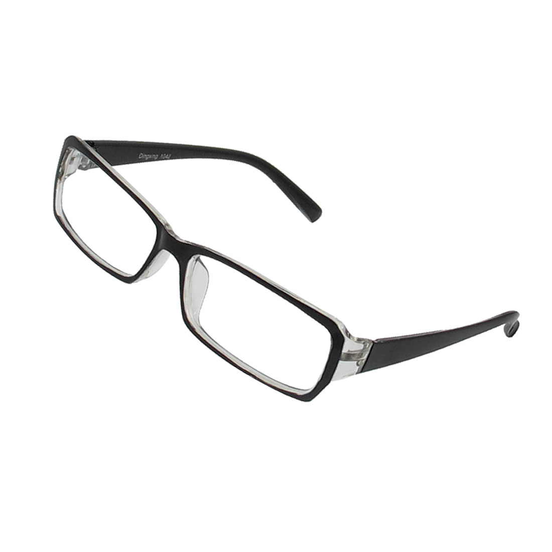 Lady Full Rim Rectangle Lens Plain Glasses Eyeglass Eyewear Black Clear