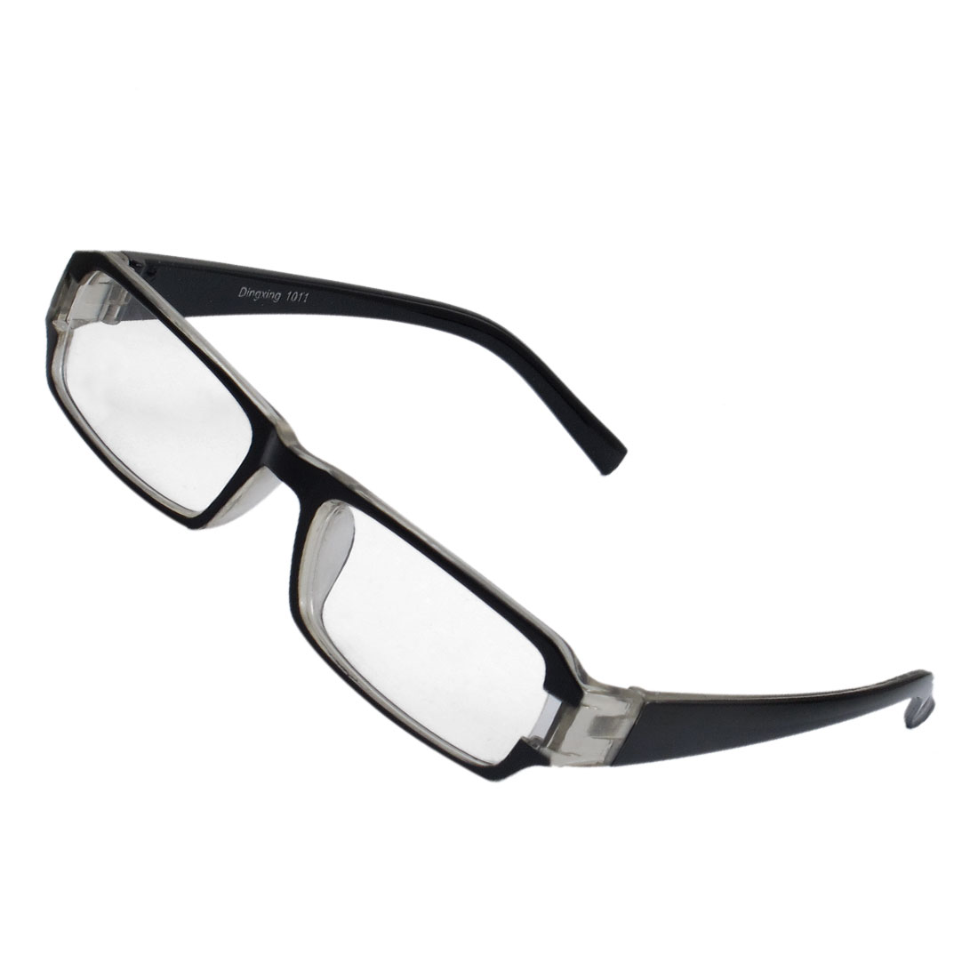 Lady Full Frame Rectangle Lens Plain Plano Glasses Eyeglass Black Gray