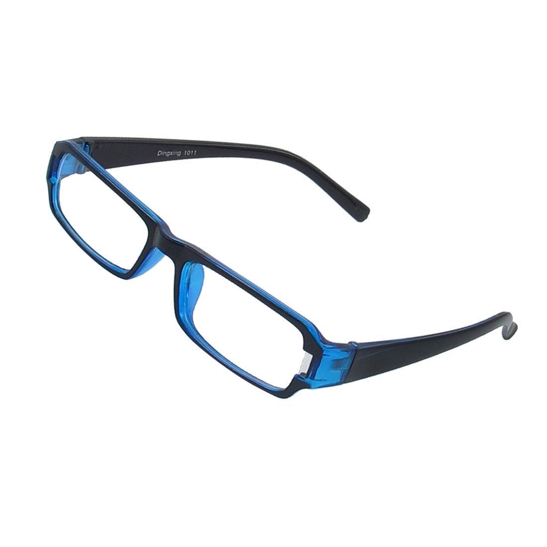 Lady Full Frame Rectangle Lens Plain Plano Glasses Eyeglass Black Blue