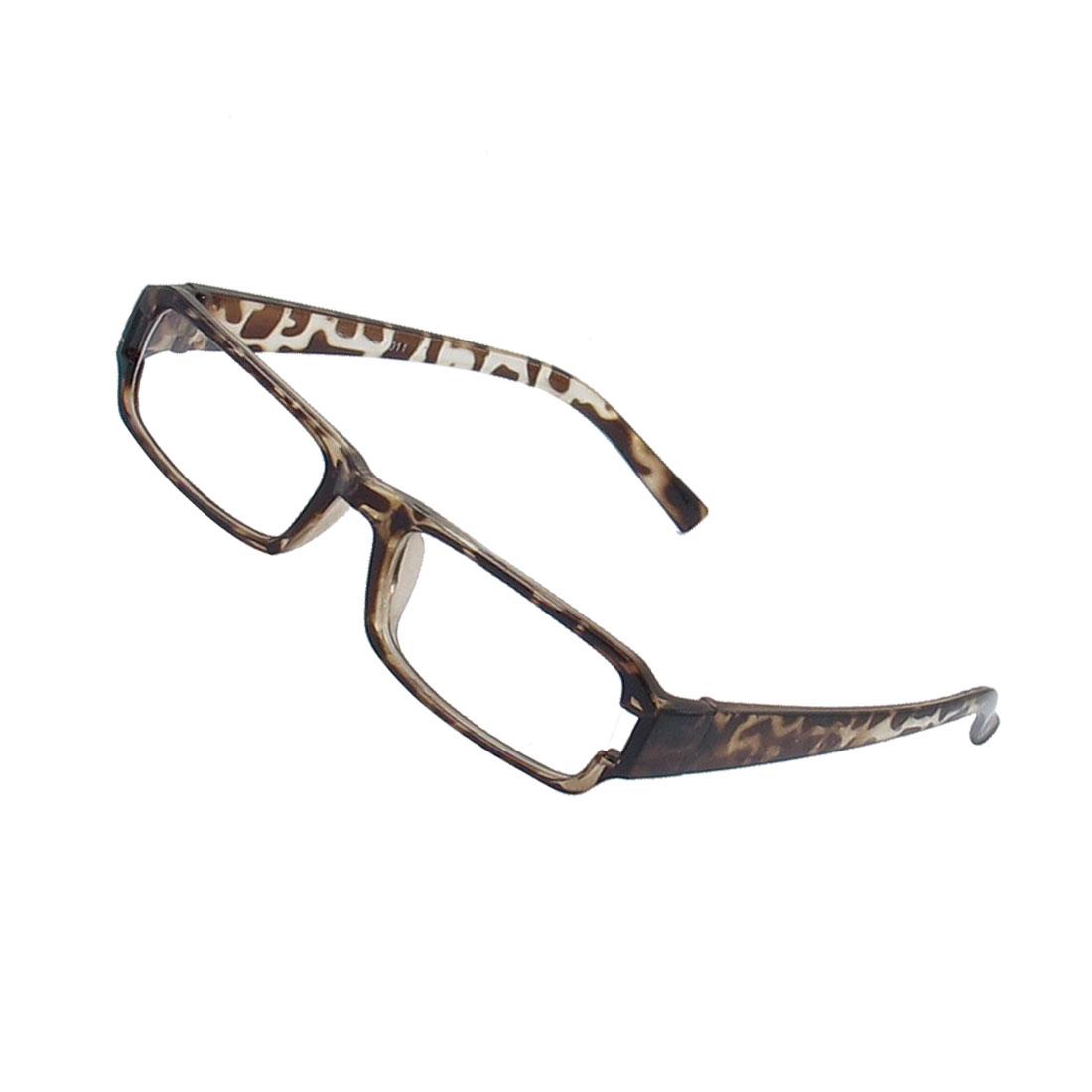 Lady Leopard Pattern Full Frame Rectangle Lens Plain Plano Eyeglass