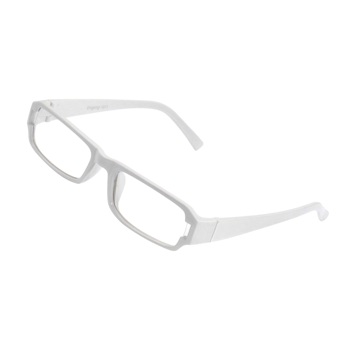 Lady Full Frame Rectangle Lens Plain Plano Eyeglass White