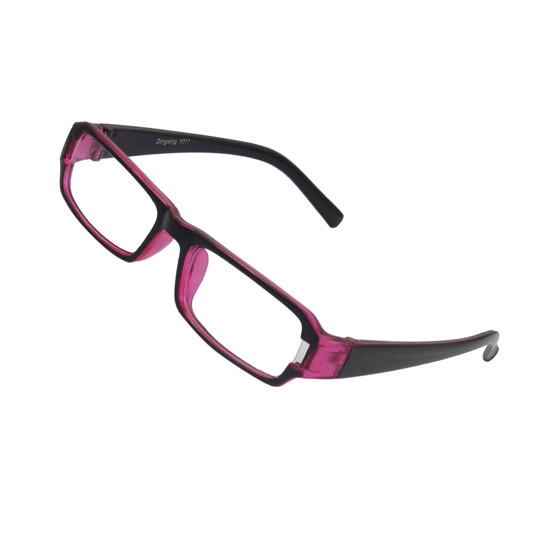 Lady Full Frame Rectangle Lens Plain Plano Glasses Eyeglass Black Fuchsia