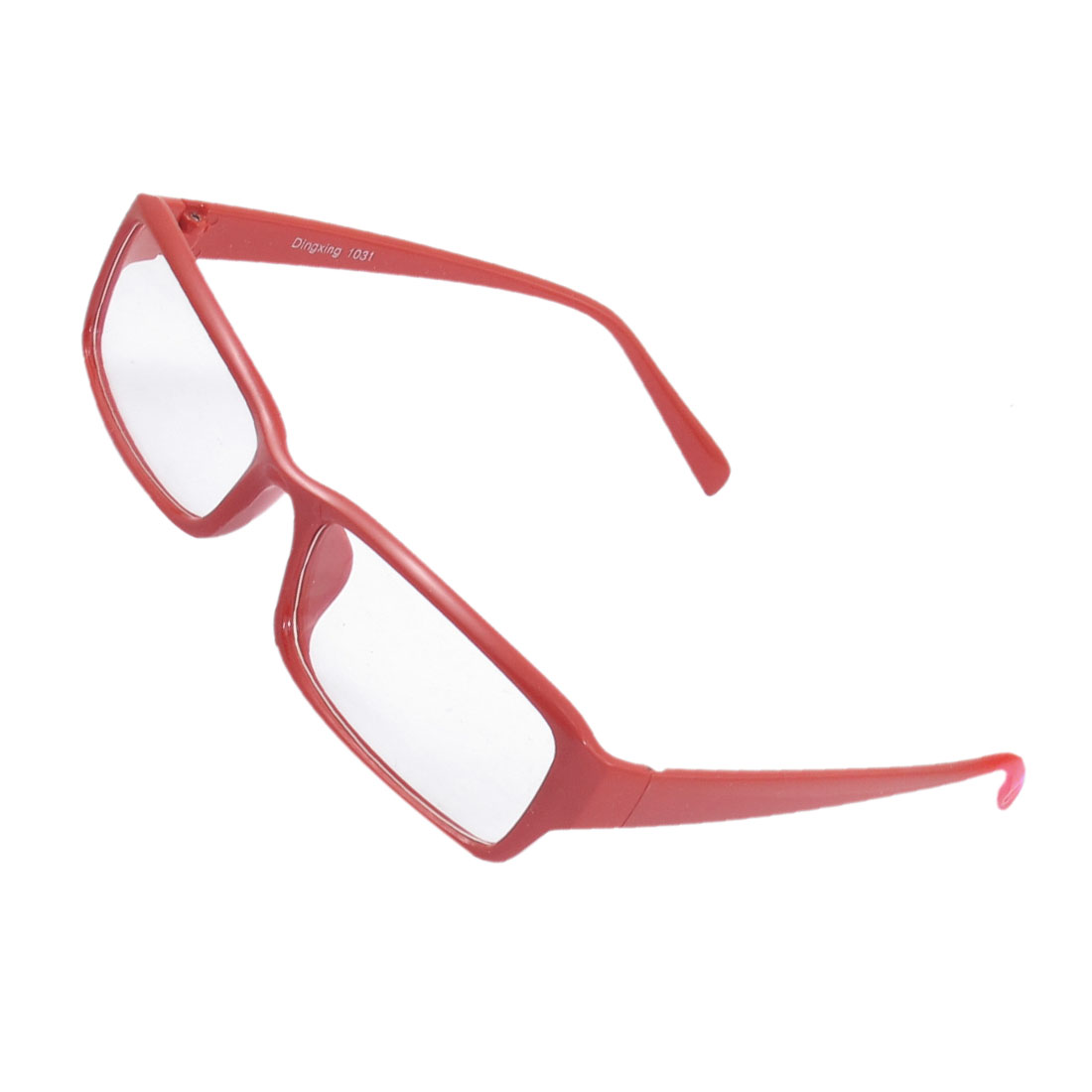 Lady Full Frame Rectangle Lens Plain Plano Eyeglass Red