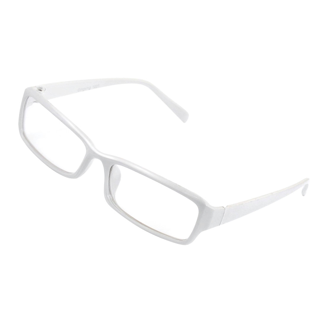 Lady White Plastic Arm Rectangle Lens Plain Plano Eyeglass