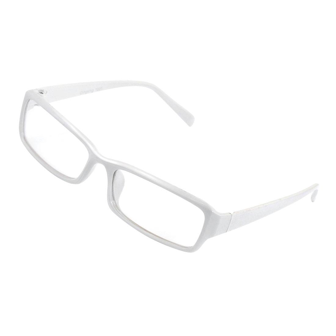 Lady White Plastic Arm Rectangle Lens Plain Plano Eyeglass