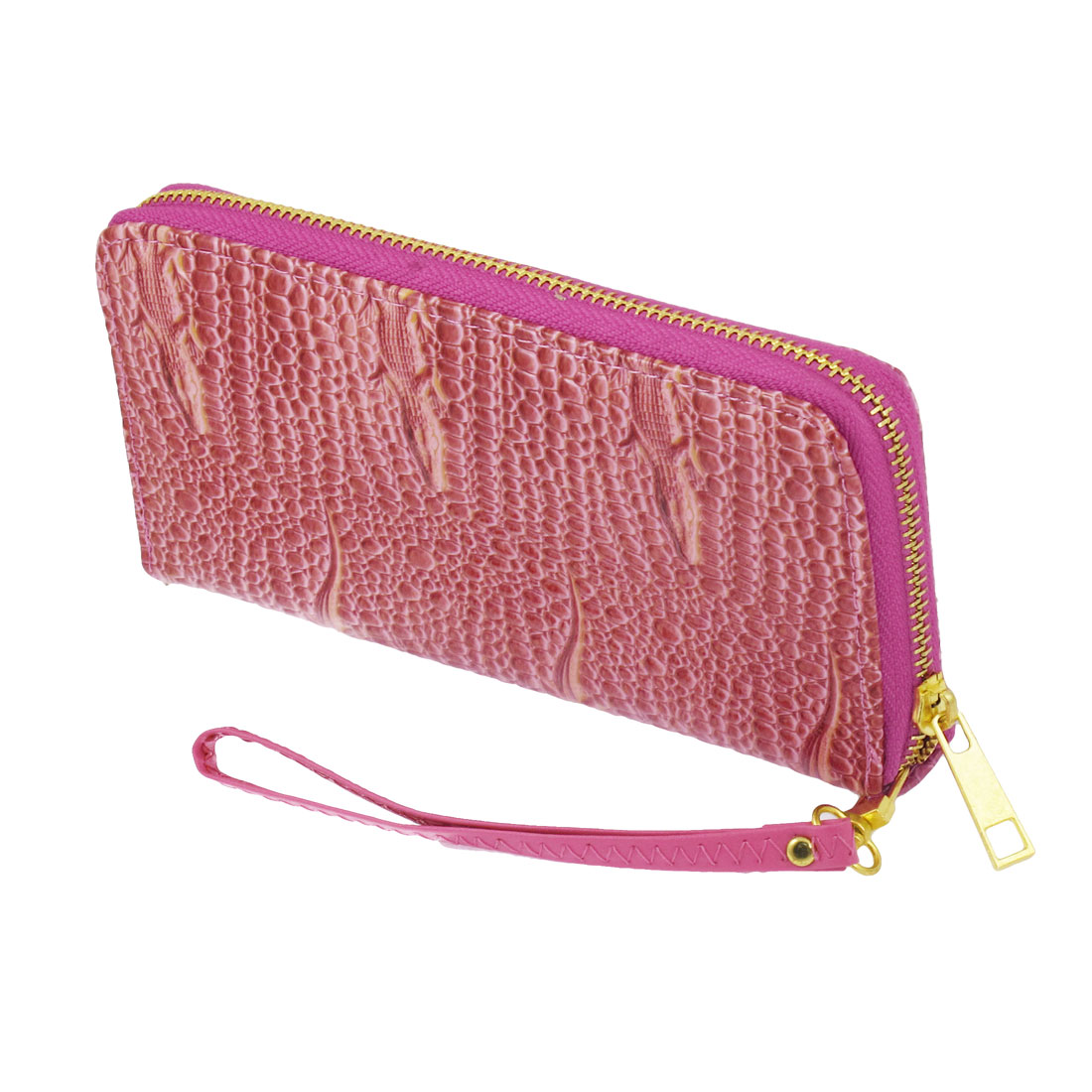 Lady Faux Leather Lizard Crocodile Print Zipper Wallet Bag Purse Magenta