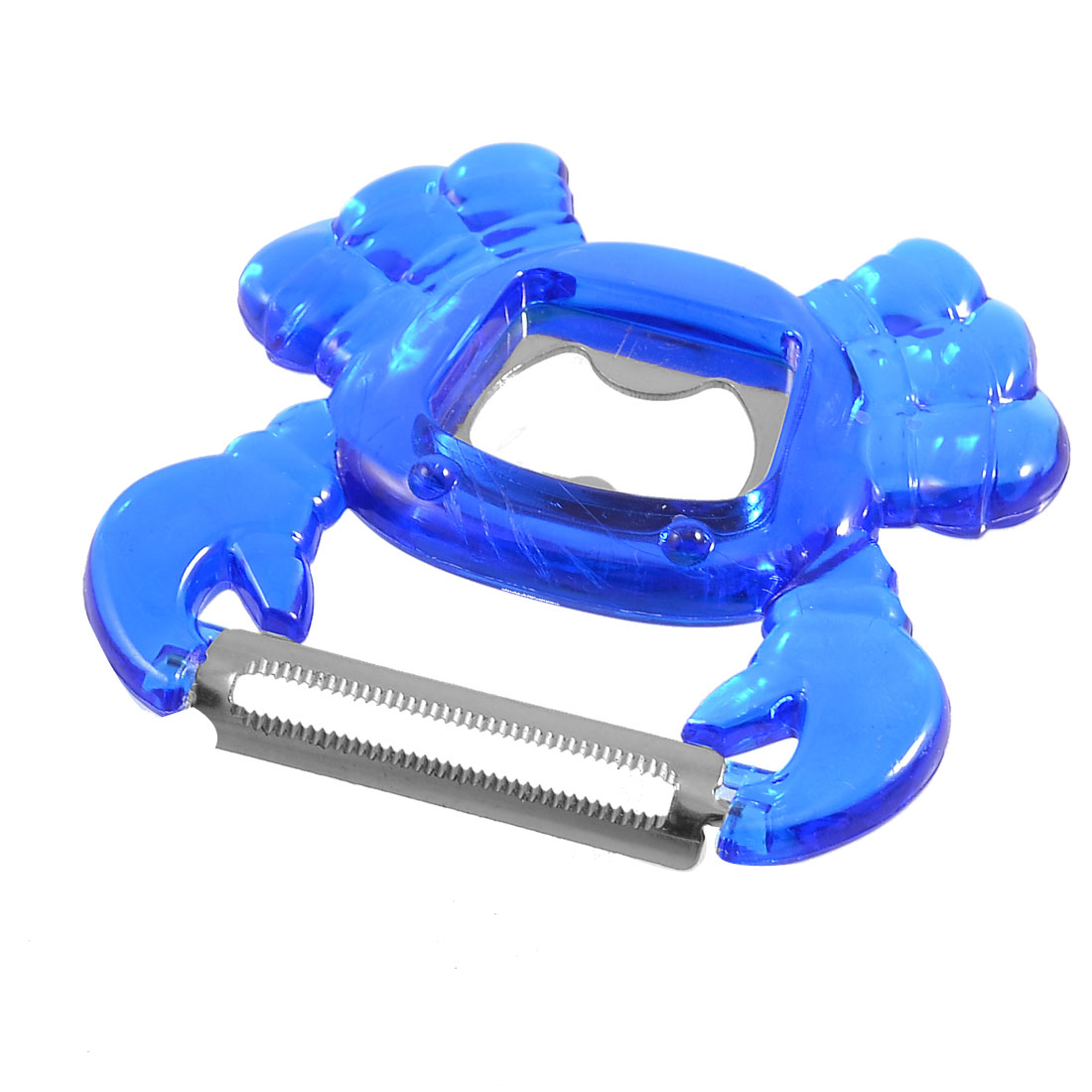 Kitchen Royal Blue Crab Shaped Fruit Potato Peeler Bottle Opener