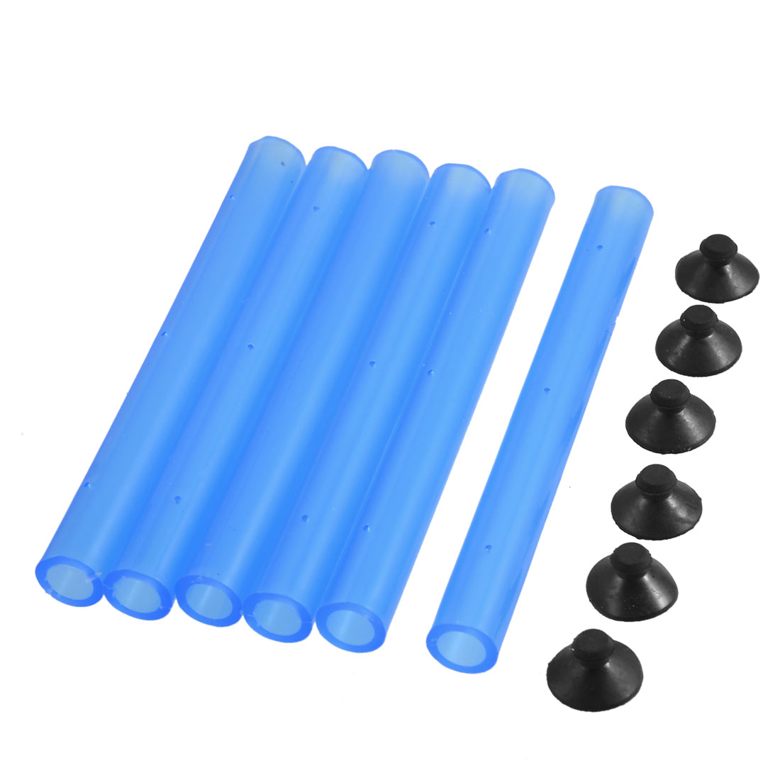 Aquarium Clear Blue Plastic 95mm Tube Air Curtain Bubble w Connectors