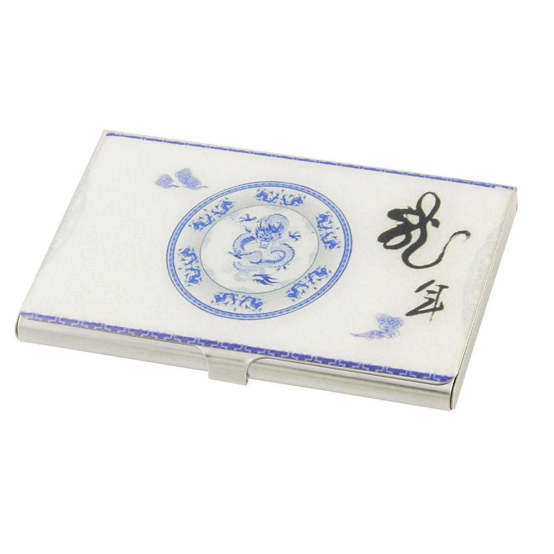 White Background Chinese Plate Dragon Print Business ID VIP Name Card Box Case