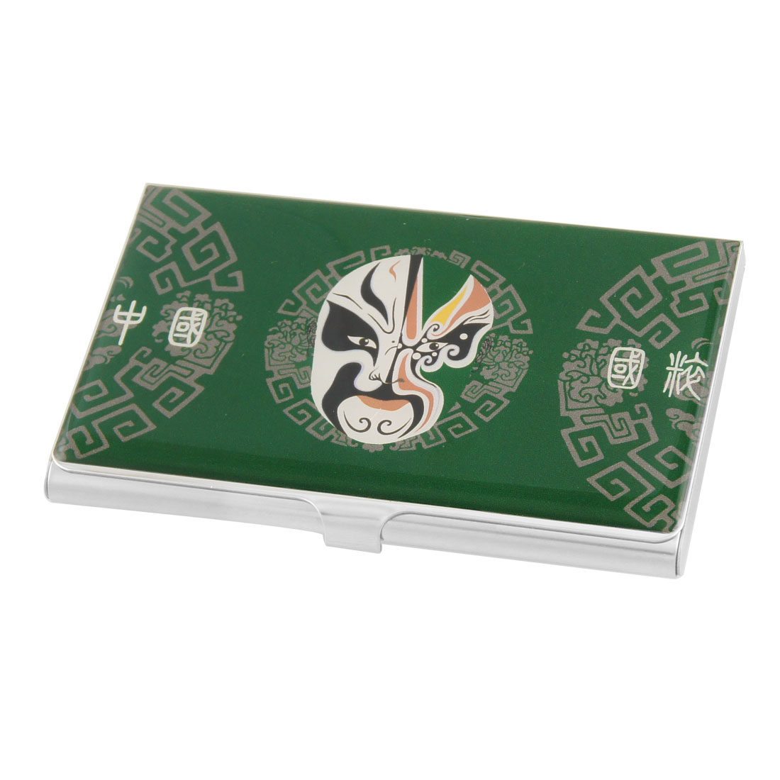 Green Background Chinese Opera Mask Pattern Stainless Steel Name Card ...