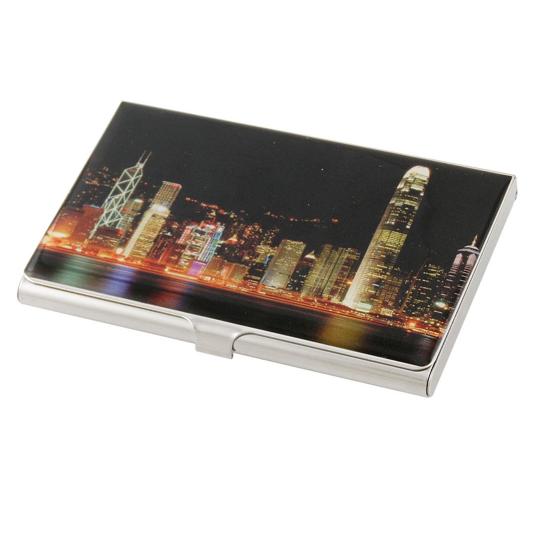 Black Background Central Night Scene Stainless Steel Horizontal Card Holder Box