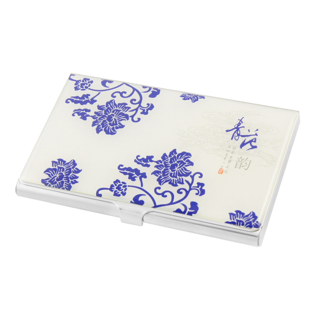 White Background Blue Floral Pattern Business ID VIP Name Card Box Case