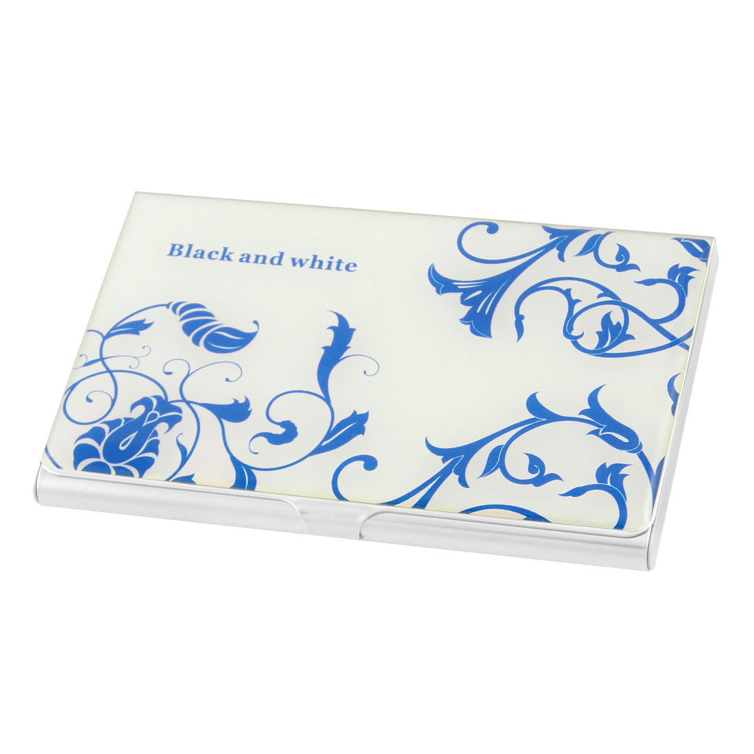 White Background Blue Floral Pattern Stainless Steel Credit Name Card Holder Box